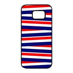 Red White Blue Patriotic Ribbons Samsung Galaxy S7 Edge Black Seamless Case
