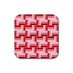 Pink Red Burgundy Pattern Stripes Rubber Coaster (square)