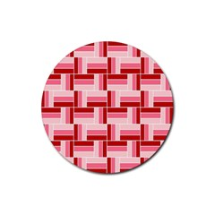 Pink Red Burgundy Pattern Stripes Rubber Coaster (round)  by Nexatart