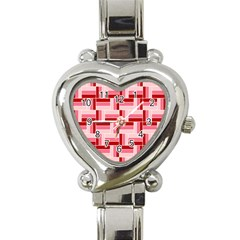 Pink Red Burgundy Pattern Stripes Heart Italian Charm Watch