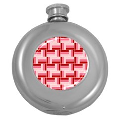 Pink Red Burgundy Pattern Stripes Round Hip Flask (5 Oz)