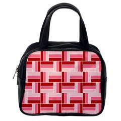 Pink Red Burgundy Pattern Stripes Classic Handbags (one Side)