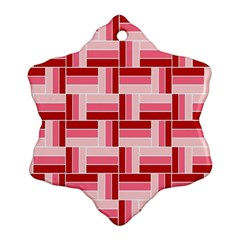 Pink Red Burgundy Pattern Stripes Snowflake Ornament (two Sides)