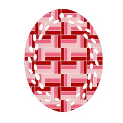 Pink Red Burgundy Pattern Stripes Oval Filigree Ornament (two Sides)
