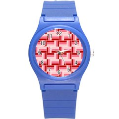 Pink Red Burgundy Pattern Stripes Round Plastic Sport Watch (s)