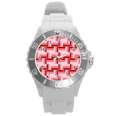 Pink Red Burgundy Pattern Stripes Round Plastic Sport Watch (l)