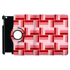 Pink Red Burgundy Pattern Stripes Apple Ipad 3/4 Flip 360 Case
