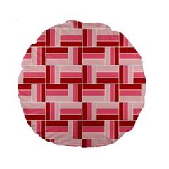 Pink Red Burgundy Pattern Stripes Standard 15  Premium Round Cushions