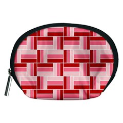 Pink Red Burgundy Pattern Stripes Accessory Pouches (medium)  by Nexatart