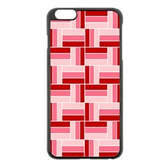 Pink Red Burgundy Pattern Stripes Apple Iphone 6 Plus/6s Plus Black Enamel Case
