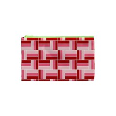 Pink Red Burgundy Pattern Stripes Cosmetic Bag (xs)