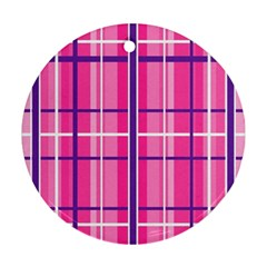 Gingham Hot Pink Navy White Ornament (round)