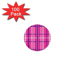 Gingham Hot Pink Navy White 1  Mini Buttons (100 Pack)