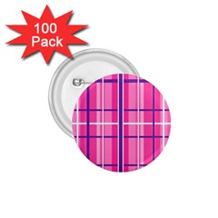 Gingham Hot Pink Navy White 1 75  Buttons (100 Pack)
