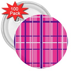 Gingham Hot Pink Navy White 3  Buttons (100 Pack)