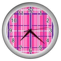 Gingham Hot Pink Navy White Wall Clocks (silver)