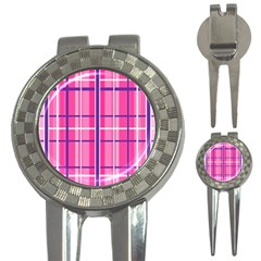 Gingham Hot Pink Navy White 3 In 1 Golf Divots