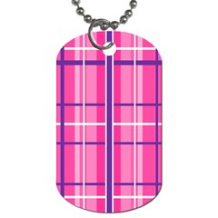 Gingham Hot Pink Navy White Dog Tag (two Sides)