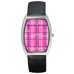 Gingham Hot Pink Navy White Barrel Style Metal Watch