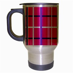 Gingham Hot Pink Navy White Travel Mug (silver Gray)