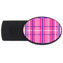 Gingham Hot Pink Navy White Usb Flash Drive Oval (4 Gb)