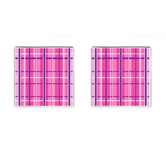 Gingham Hot Pink Navy White Cufflinks (square)