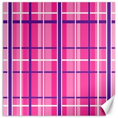 Gingham Hot Pink Navy White Canvas 12  X 12