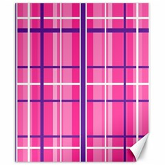 Gingham Hot Pink Navy White Canvas 20  X 24
