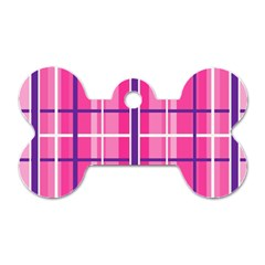 Gingham Hot Pink Navy White Dog Tag Bone (one Side)