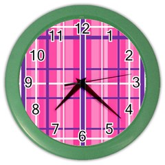 Gingham Hot Pink Navy White Color Wall Clocks