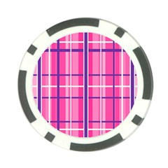 Gingham Hot Pink Navy White Poker Chip Card Guard