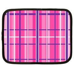 Gingham Hot Pink Navy White Netbook Case (large)
