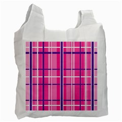 Gingham Hot Pink Navy White Recycle Bag (two Side)