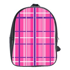 Gingham Hot Pink Navy White School Bag (large)