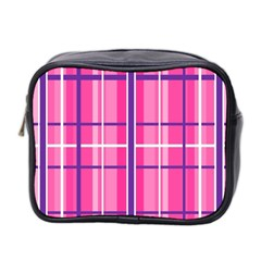 Gingham Hot Pink Navy White Mini Toiletries Bag 2 Side