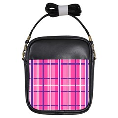 Gingham Hot Pink Navy White Girls Sling Bags