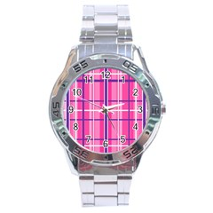 Gingham Hot Pink Navy White Stainless Steel Analogue Watch