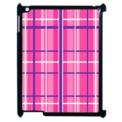 Gingham Hot Pink Navy White Apple Ipad 2 Case (black)