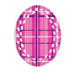 Gingham Hot Pink Navy White Ornament (oval Filigree)