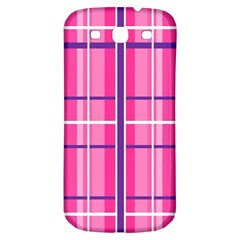 Gingham Hot Pink Navy White Samsung Galaxy S3 S Iii Classic Hardshell Back Case
