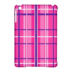 Gingham Hot Pink Navy White Apple Ipad Mini Hardshell Case (compatible With Smart Cover)