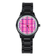 Gingham Hot Pink Navy White Stainless Steel Round Watch