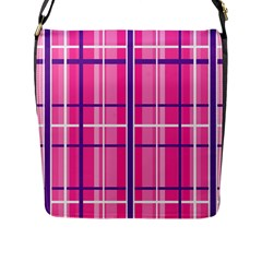 Gingham Hot Pink Navy White Flap Messenger Bag (l)