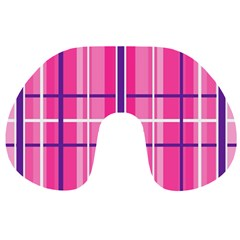 Gingham Hot Pink Navy White Travel Neck Pillows