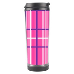 Gingham Hot Pink Navy White Travel Tumbler