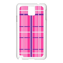 Gingham Hot Pink Navy White Samsung Galaxy Note 3 N9005 Case (white)