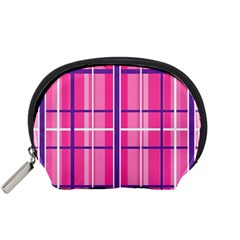 Gingham Hot Pink Navy White Accessory Pouches (small)