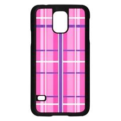 Gingham Hot Pink Navy White Samsung Galaxy S5 Case (black)
