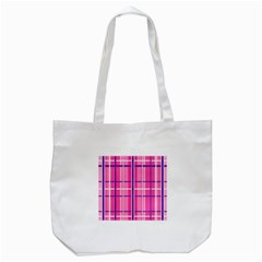 Gingham Hot Pink Navy White Tote Bag (white)