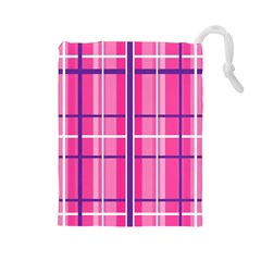 Gingham Hot Pink Navy White Drawstring Pouches (large)